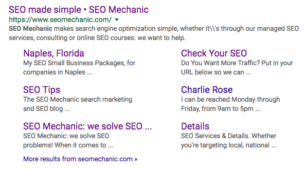 Examples of meta descriptions in Google