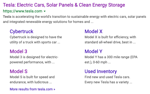 Tesla Meta Description Example